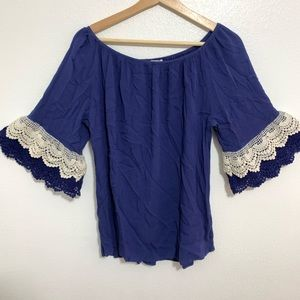 Umgee Off-The-Shoulder Blouse Lace Detail